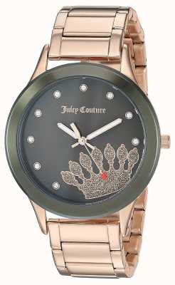 Juicy Couture Womens Rose Gold Stainless Steel | Black Crown Dial JC-1052OLRG
