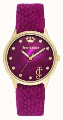 Juicy Couture Womens Burgundy Dial | Burgundy Velvet Strap |Gold Tone Case JC-1060HPHP