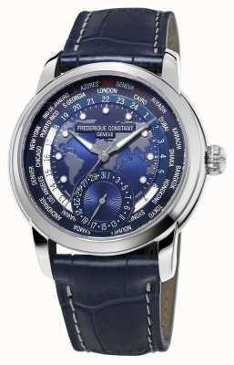 Frederique Constant Men's Manufacturer Worldtimer Blue Dial Blue Strap FC-718NWM4H6
