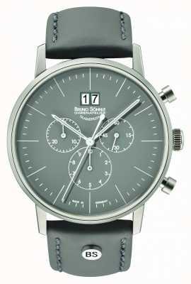 Bruno Sohnle Mens Stuttgart Chrono 42mm Grey With Leather Strap 17-13177-841