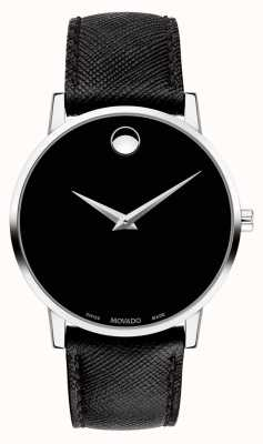 Movado Mens Museum Black Leather Strap Black Dial 0607194