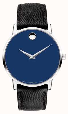 Movado Mens Museum Blue Dial Black Leather Strap Stainless Steel 0607197