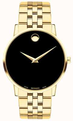 Movado Mens Museum Gold Plated Bracelet/Case Black Dial 0607203
