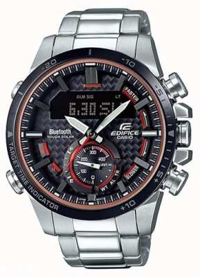 Casio Edifice Bluetooth Lap Timer Stainless Steel Red Accents ECB-800DB-1AEF
