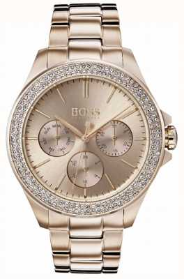 Hugo Boss Womens Premiere Crystal Set Gold Plated Bracelet 1502443