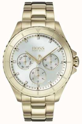 Hugo Boss Womens Premiere Gold Plated Bracelet Silver Dial 1502445