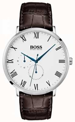 Boss Men's William Classic Brown Leather White Dial 1513617