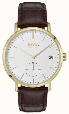 Hugo Boss Men's Corporal Brown Leather White Dial Gold Plated 1513640