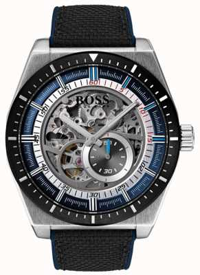 Hugo Boss Men's Signature Automatic Skeleton Black Canvas Strap 1513643