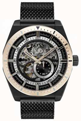 Hugo Boss Men's Signature Automatic Skeleton Black PVD Plated 1513655