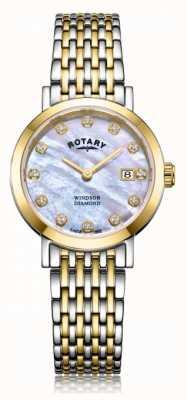 Rotary Womens Windsor Diamond Date Two Tone Bracelet Watch LB05301/41/D