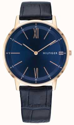 Tommy Hilfiger Men's Cooper Watch Blue Leather Strap Rose Gold Tone Case 1791515