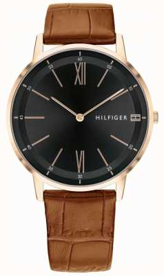 Tommy Hilfiger Men's Cooper Watch Brown Leather Black Dial Strap Steel Case 1791516