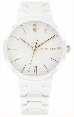 Tommy Hilfiger Womens White Ceramic Bracelet Avery Watch 1781956