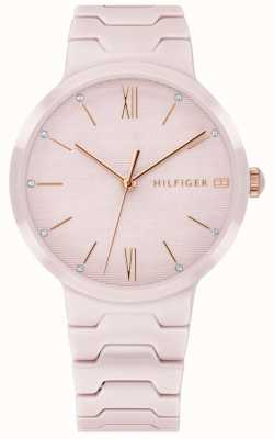 Tommy Hilfiger Womens Pink Ceramic Bracelet Avery Watch 1781957