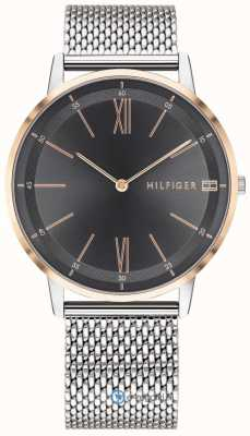 Tommy Hilfiger Men's Cooper Watch Stainless Steel Mesh Bracelet Black Dial 1791512
