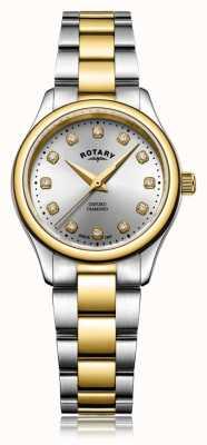 Rotary Womens Oxford Ladies Diamond Two Tone Bracelet Watch LB05093/44/D