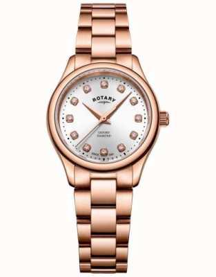 Rotary | Womens | Oxford | Diamond Set | Rose Gold Tone Bracelet | LB05096/02/D