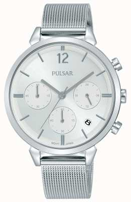 Pulsar Ladies Stainless Steel Case Silver Chronograph Dial PT3943X1