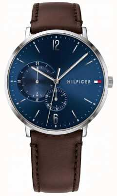 Tommy Hilfiger Men's Blue Dial Brown Leather Strap 1791508