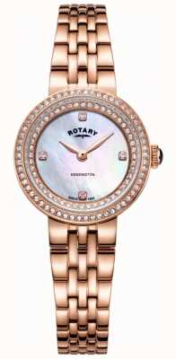 Rotary Womens Kensington Crystal Rose Gold Bracelet Watch LB05374/41