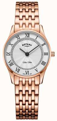 Rotary Womens Ultra Slim Rose Gold Bracelet Watch LB08304/01