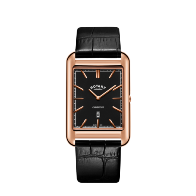 Rotary Mens Cambridge Rose Gold Square Watch Black Leather Strap GS05284/04
