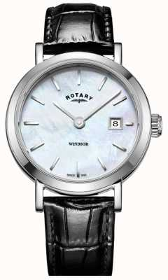 Rotary Womens Windsor Mother of Pearl Dial Black Leather Strap LS05300/41