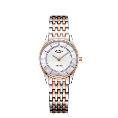 Rotary Womens Ultra Slim Two Tone Bracelet Mother of Pearl Dial LB08302/02