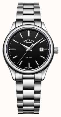Rotary Womens Oxford Stainless Steel Bracelet Black Date Dial LB05092/04