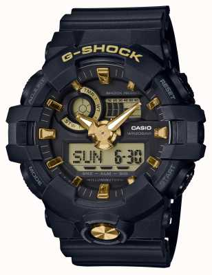 Casio G-Shock Analogue Digital Navy Rubber Gold Watch GA-710B-1A9ER