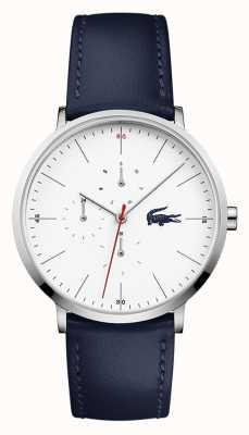 Lacoste Moon Blue Leather Strap White Dial 2010975