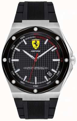 Scuderia Ferrari Mens Aspire Black Rubber Strap Date Display 0830529