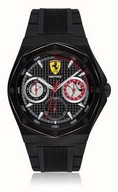 Scuderia Ferrari Mens Aspire Black Rubber Strap Black Case Date Display 0830538