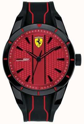 Scuderia Ferrari Mens Redrev Red Dial Black Rubber Strap 0830540