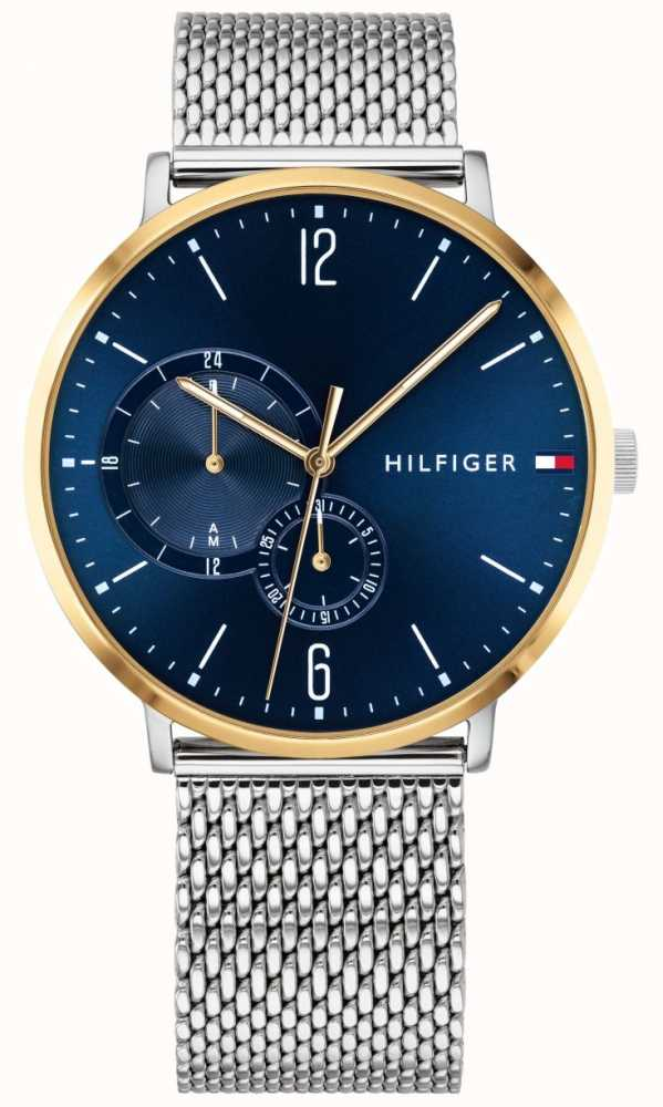 a2d8aab8 Tommy Hilfiger Mens Milanese Stainless Steel Blue Dial Gold Plated ...