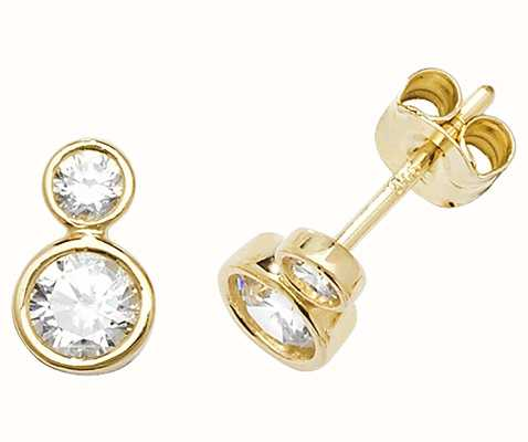 Treasure House 9k Yellow Cubic Zirconia Earrings Es554 Es554