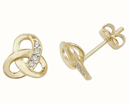 Treasure House 9k Yellow Gold Cubic Zirconia Knot Stud Earrings Es439
