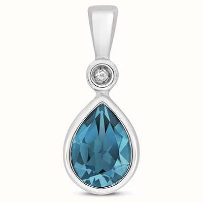Treasure House 9k White Gold Diamond London Blue Pendant Pd248wlb