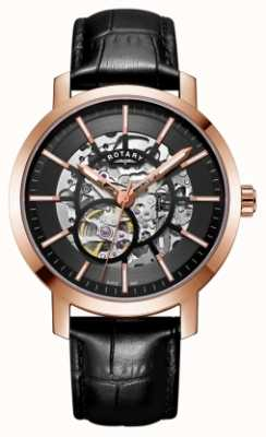 Rotary Mens Greenwich G2 Automatic Skeleton Dial Rose Gold Tone GS05354/04