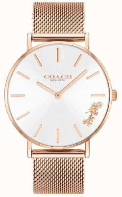Coach Womens Perry Rose Gold Mesh Bracelet Watch 14503126