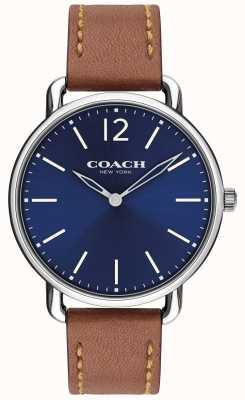 Coach Mens Delancey Slim Watch Blue Dial Brown Leather Strap 14602345