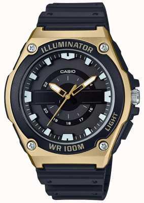 Casio Mens Black And Gold Resin Illuminator Watch MWC-100H-9AVEF
