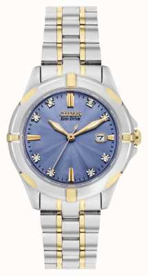 Citizen Ladies Sport Diamond Eco-Drive Two-tone Blue Dial Watch EW1936-53L