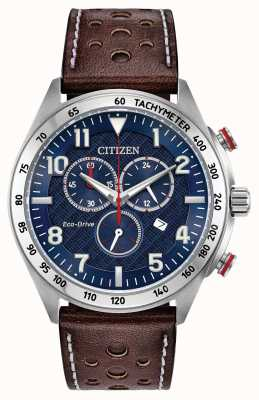 Citizen Mens Eco-Drive Blue Dial Brown Leather Chrono 100m AT2418-00L