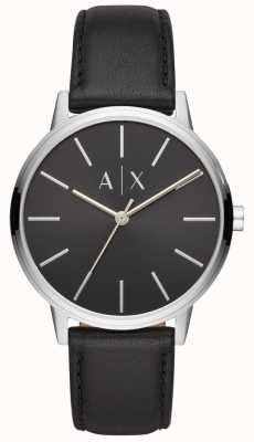 Armani Exchange Cayde Mens Black Leather Strap Black Dial AX2703