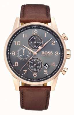 Hugo Boss Navigator Chronograph Date Display Black Dial Brown Leather 1513496