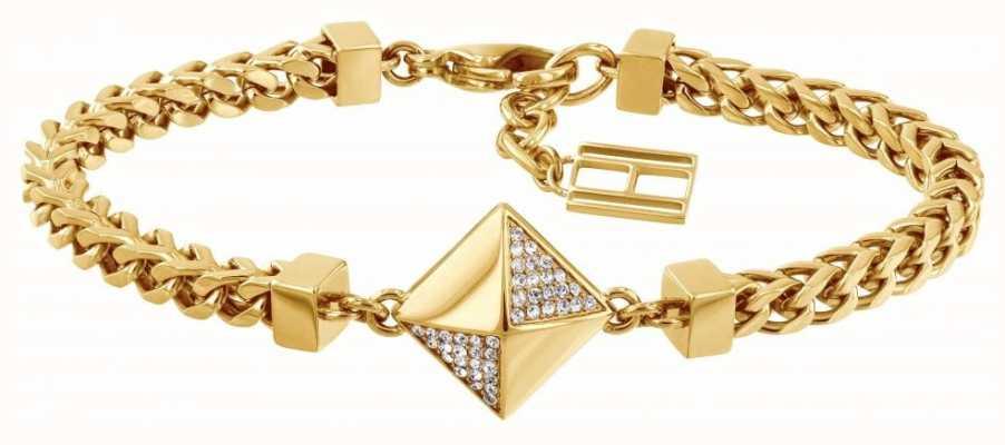 Tommy Hilfiger Stone Set Box Bracelet Gold Tone 2780091