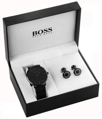 Hugo Boss Mens Black Ion Plated Watch And Cufflink Set 1570067