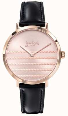 Jean Paul Gaultier Glam Navy Womens Black Leather Strap Watch JP8505605